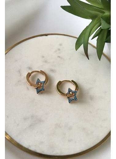 My Joyas Design Mavi Yıldız Taşlı Küpe Altın